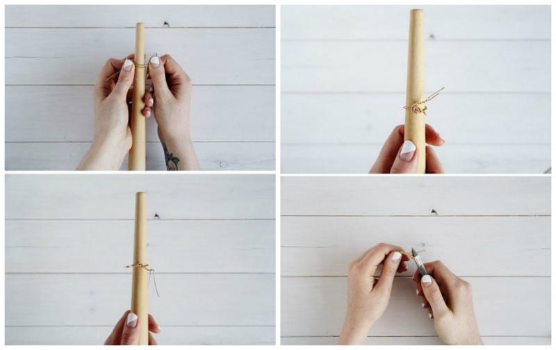 Làm nhẫn bằng sợi kẽm hoặc sợi đồng (kiểu 3)