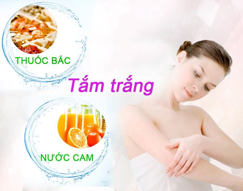Tắm trắng hiệu quả bằng bột thuốc bắc và nước cam.