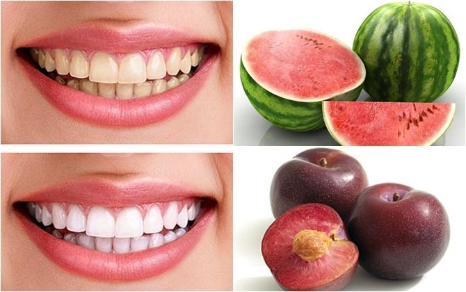 Ăn nhiều trái cây có lượng axit tự nhiên, giàu chất xơ giúp loại bỏ những mảng bám và làm răng trắng sáng hơn