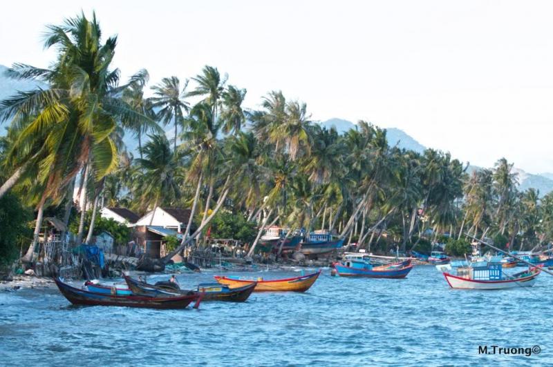 Màu nước xanh yên bình của làng chài
