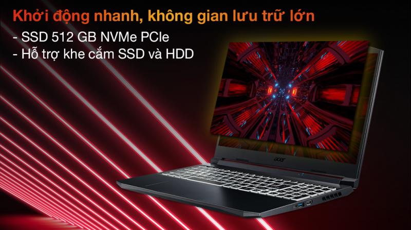 Laptop Acer Nitro 5 Gaming AN515 57 727J i7 11800H/8GB/512GB/4GB RTX3050Ti/144Hz/Balo/Win10 (NH.QD9SV.005.)