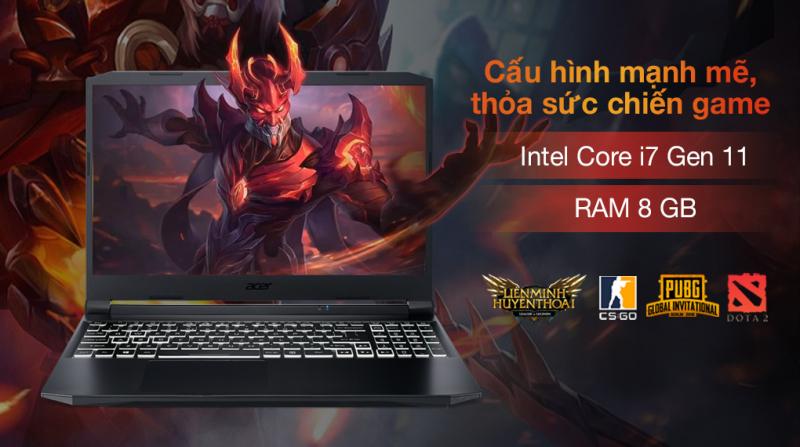 Laptop Acer Nitro 5 Gaming AN515 57 74NU i7 11800H/8GB/512GB/4GB RTX3050Ti/144Hz/Balo/Win10 (NH.QD9SV.001.)