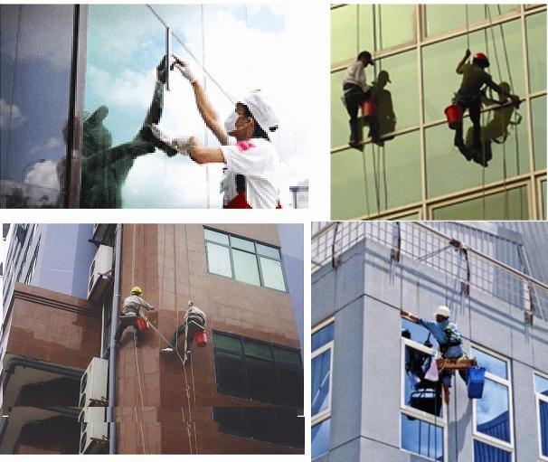 Những người thợ lau kính cho các tòa nhà cao tầng