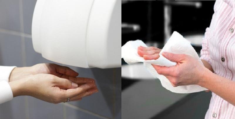 Lau khô tay bằng khăn giấy