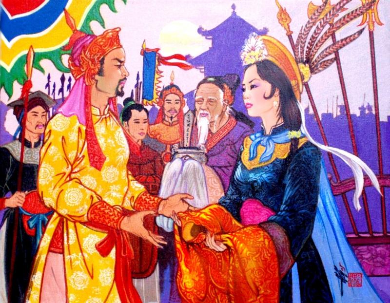 Thái hậu Dương Vân Nga trao hoàng bào cho Lê Hoàn