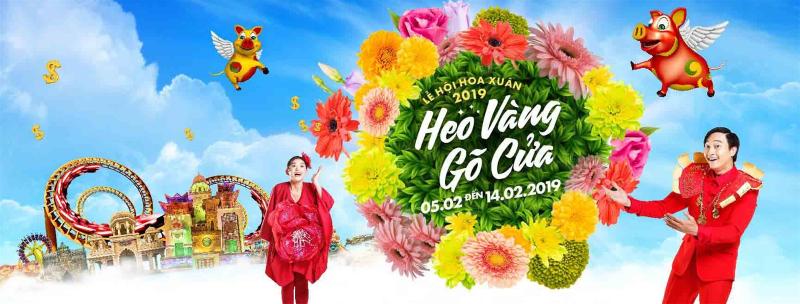 "Lễ hội hoa xuân ""heo vàng gõ cửa"" Sun World Danang Wonders"
