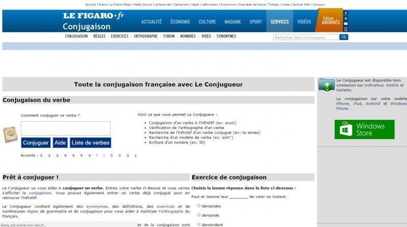 Leconjugueur là website dạy chia động từ trong tiếng Pháp