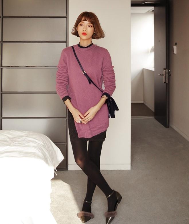 Áo len cùng quần legging