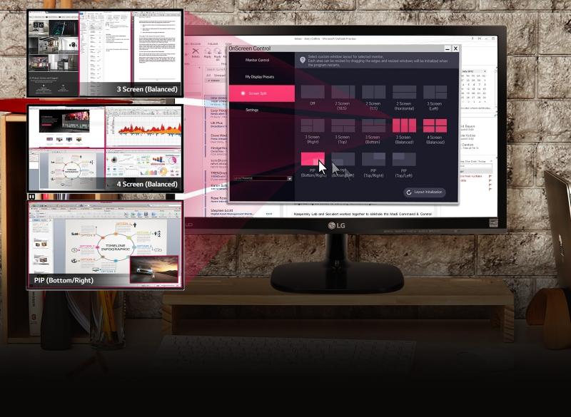 Với màn hình LG 24M47VQ-P bạn có thể cùng lúc quan sát đến 4 cửa sổ khác nhau.