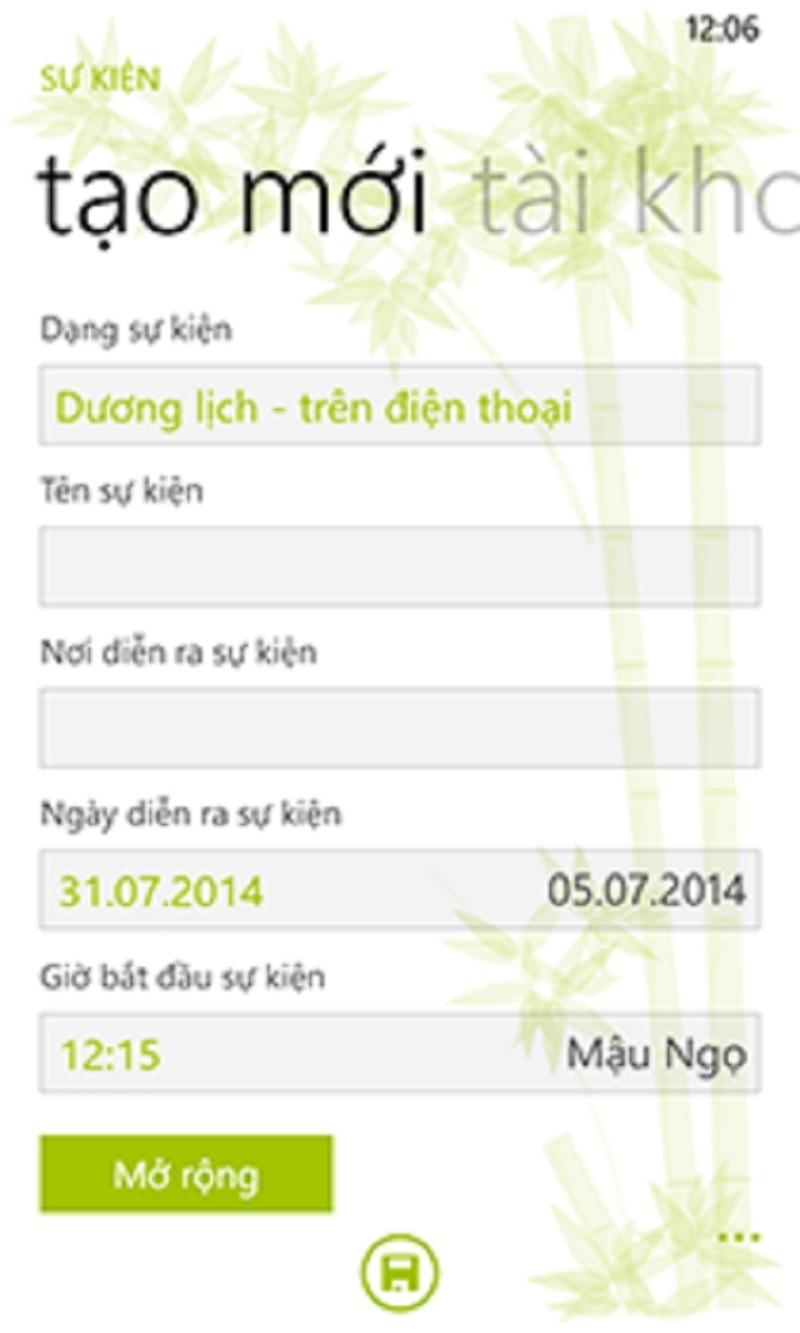 Giao diện nhẹ nhàng thanh lịch của ứng dụng Lịch Việt
