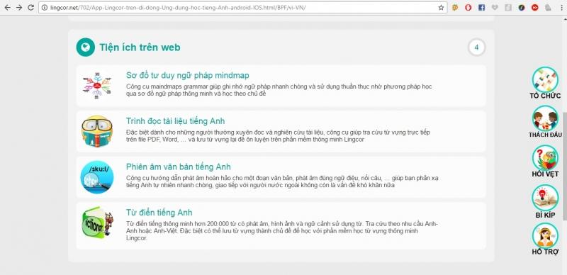 Các tiện ích  của Lingcor trên web