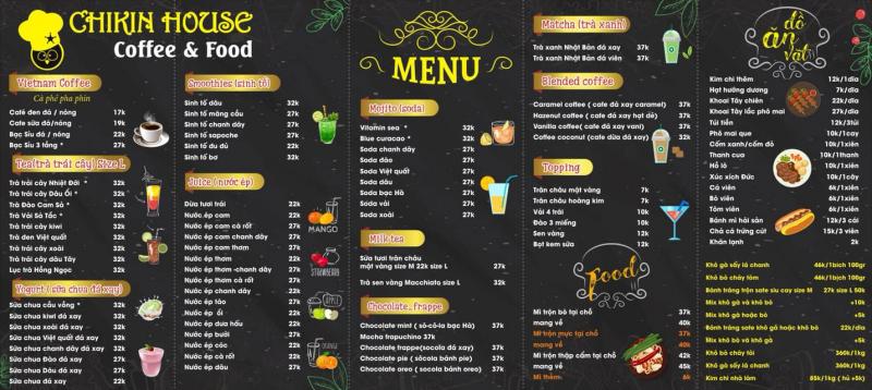 Ngân Khểnh - Chikin house thiết kế menu tràn ngập thức uống ngon và hiện đại