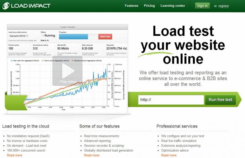 Load Impact đang có một trong những công cụ hữu hiệu nhất hiện nay để kiểm tra tốc độ website.