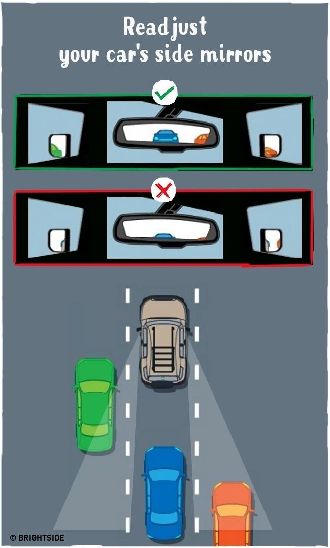 Loại bỏ các điểm mù khi lái ô tô bằng cách điều chỉnh gương xe trước khi di chuyển