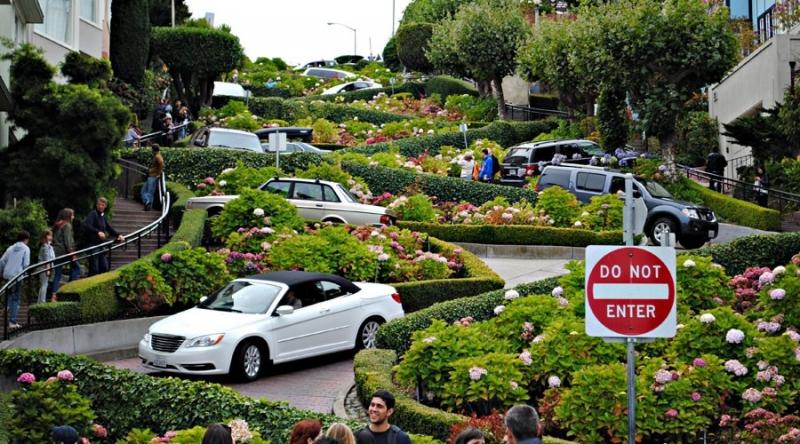 Lombard Street không chỉ là một trong những con đường hoa nổi tiếng nhất trên thế giới mà còn gây ấn tượng bởi độ dốc và ngoằn ngoèo