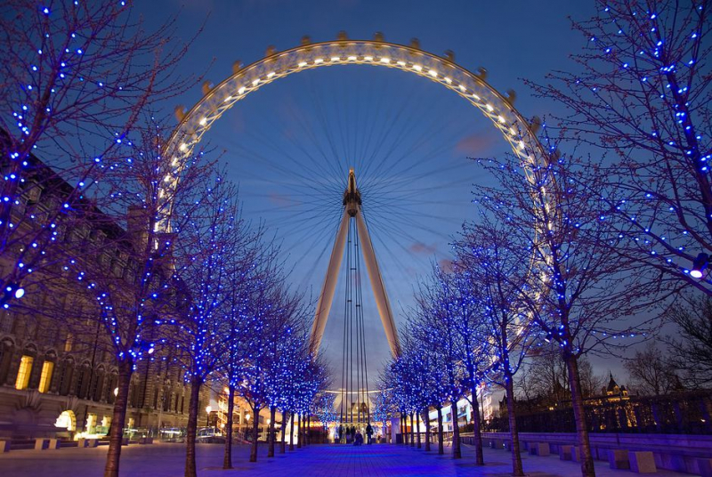 London Eye nằm ở phía tây của công viên Jubilee Gardens