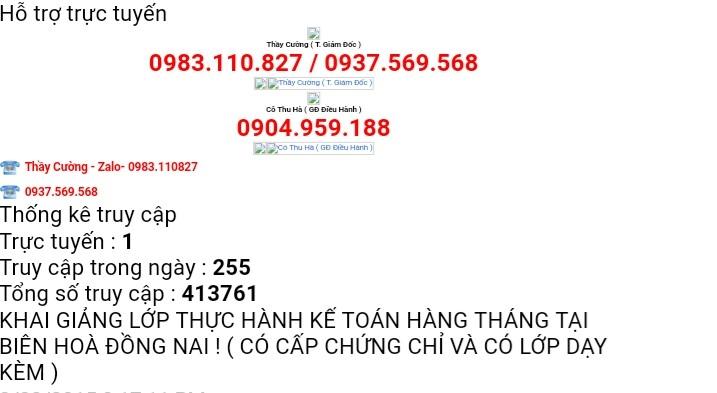 Lớp thực hành kế toán Biên Hòa