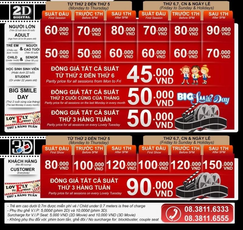 Giá vé tại Lotte Cinema (Bảng giá chỉ mang tính chất tham khảo. Tùy vào địa điểm giá sẽ có điều chỉnh nhưng chỉ chênh lệch từ 5.000 - 10.000 đồng)
