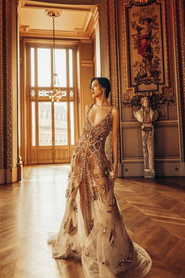 Khánh Linh trong một thiết kế váy dạ hội lưới lụa của Khánh giữa Paris hoa lệ (Nguồn: Fanpage LY QUI KHANH)