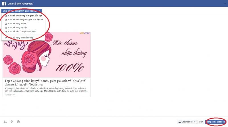 Bạn có thể lựa chọn đăng lên trang cá nhân, fanpage, hoặc nhóm facebook mà mình tham gia đều được.