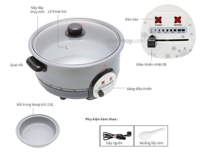 Nồi lẩu điện Happycook HCHP-300A