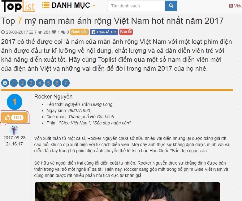 Một bài viết sắp xếp theo vote của tác giả Miu Lee, các mỹ nam được sắp xếp theo thứ tự bầu chọn