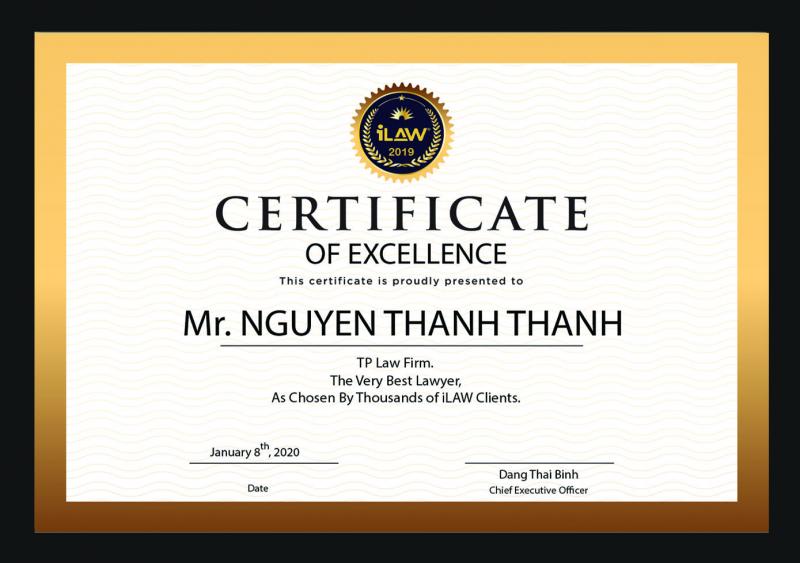 Bằng khen của Luật sư Nguyễn Thanh Thanh