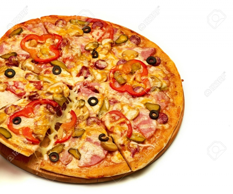 Pizza is very beautiful on display