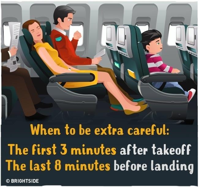 Lưu ý trong thời gian máy bay cất cánh và hạ cánh