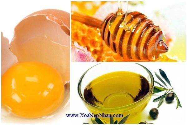 Sử dụng dầu olive, mật ong, trứng gà