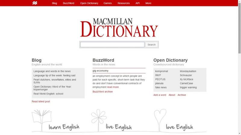 Màu trắng là màu chủ đạo cho Macmillan Dictionary