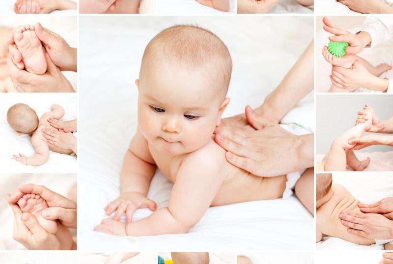 Massage lưng cho bé