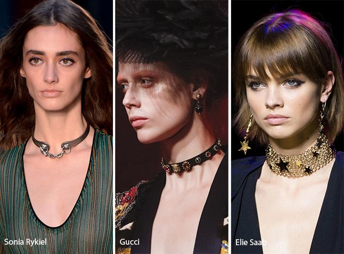 Choker của Sonia Rykiel, Gucci và Elie Saab.