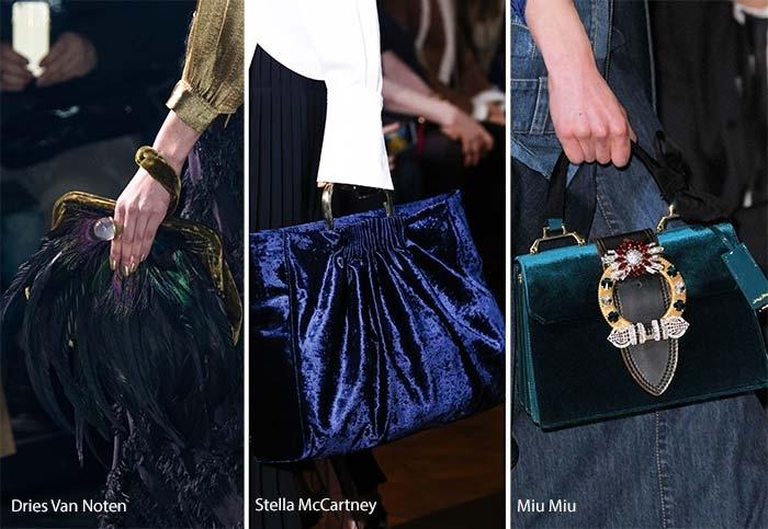 Túi xách chất liệu velvet của 3 hãng thời trang Dries Van Noten, Stella McCartney và Miu Miu.