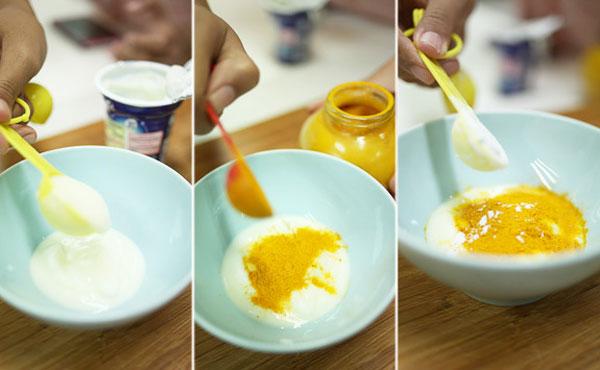 Sử dụng hỗn hợp mặt nạ bột nghệ, bột mì và sữa