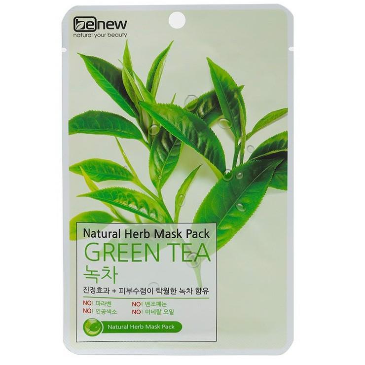 Mặt nạ trà xanh xóa mụn, dưỡng trắng da BENEW GREEN TEA NATURAL HERB MASK PACK Hàn quốc 22ml/gói