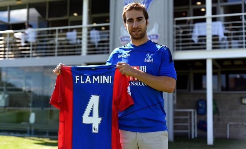 Mathieu Flamini trong ngày ra mắt Crystal Palace
