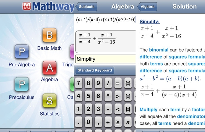 Hình ảnh giao diện của Mathway và cách thức thực hiện phép toán.