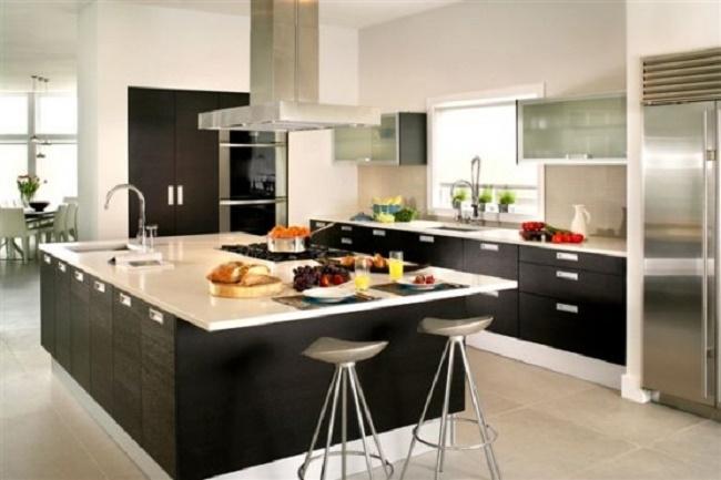 Mẫu tủ bếp Laminate đẹp cho nhà biệt thự