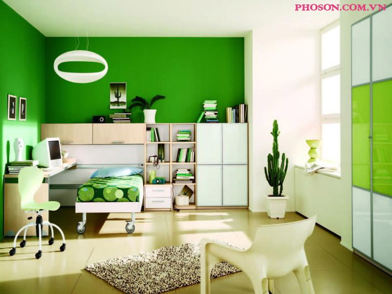 Không gian mát mẻ với màu xanh lá