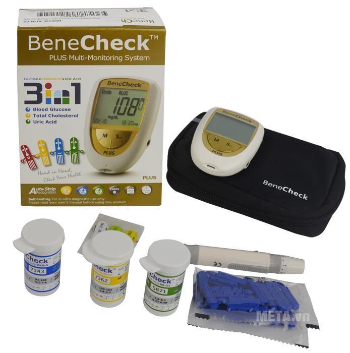Máy đo đường huyết 3 trong 1 Benecheck Plus trọn bộ