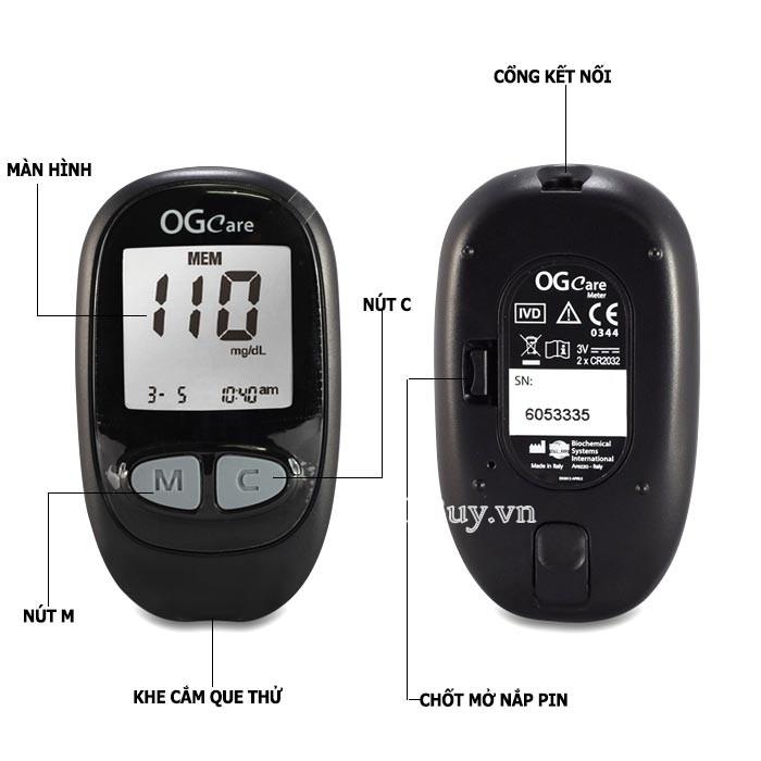 Cấu tạo của Máy đo đường huyết OGCAVE
