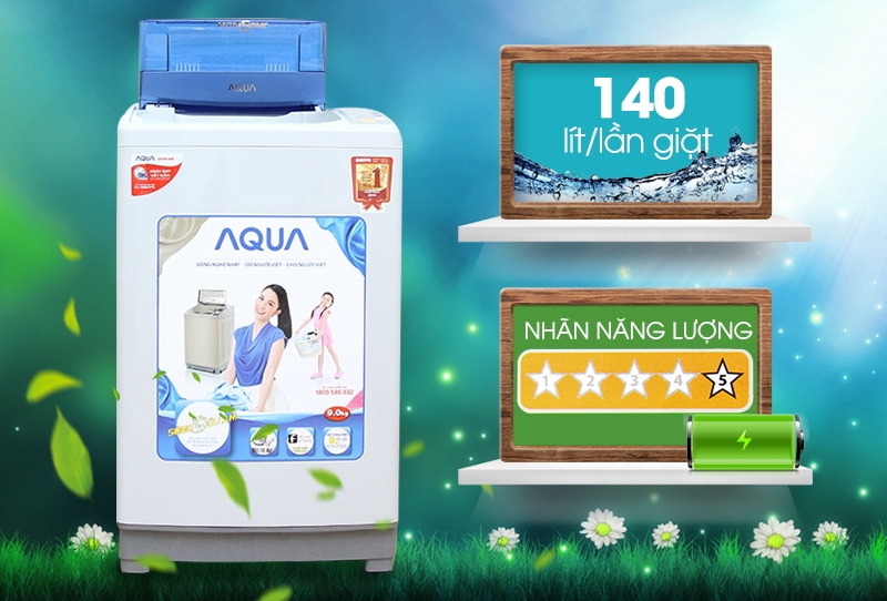 Aqua AQW-U90ZT/S này có thiết kế vô cùng đơn giản và thanh lịch