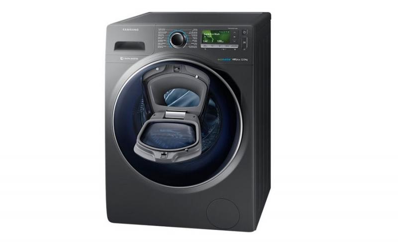 Máy giặt cửa ngang Samsung WW12K8412OX/SV sở hữu thiết kế hiện đại, sang trọng