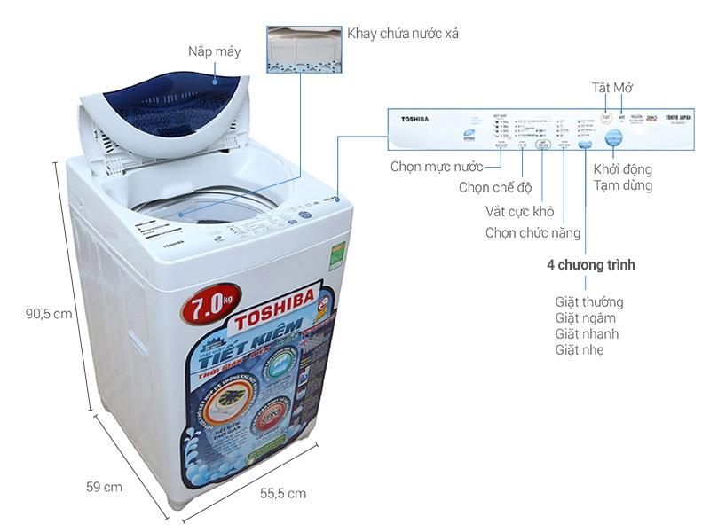 Máy giặt cửa trên Toshiba 7kg AW-A800SV - A800SV-WB