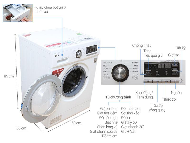 Máy giặt LG F1408NM2W – Lồng ngang, 8kg