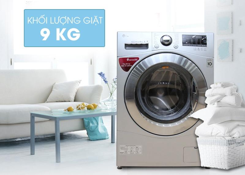 Máy giặt cửa ngang LG F1409NPRL có khối lượng giặt là 9kg