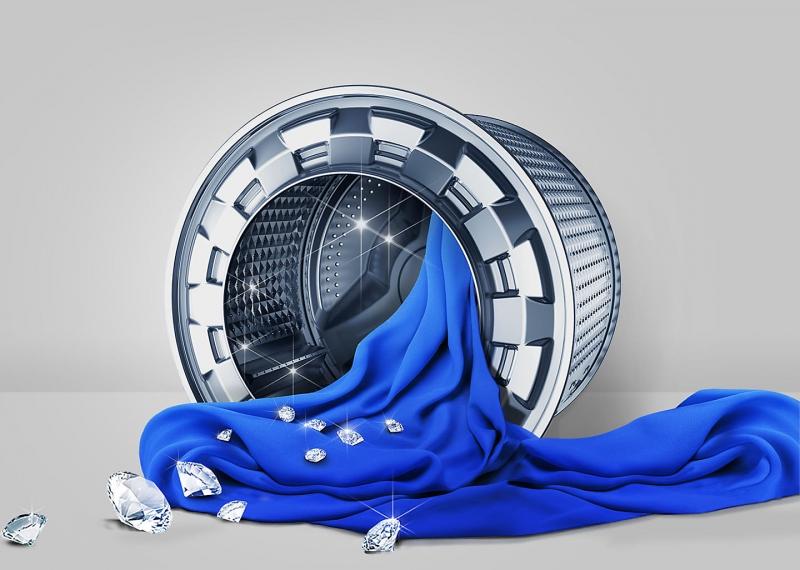 Lồng giặt kim cương của Samsung WW80J4233GW giúp nâng niu từng sợi vải