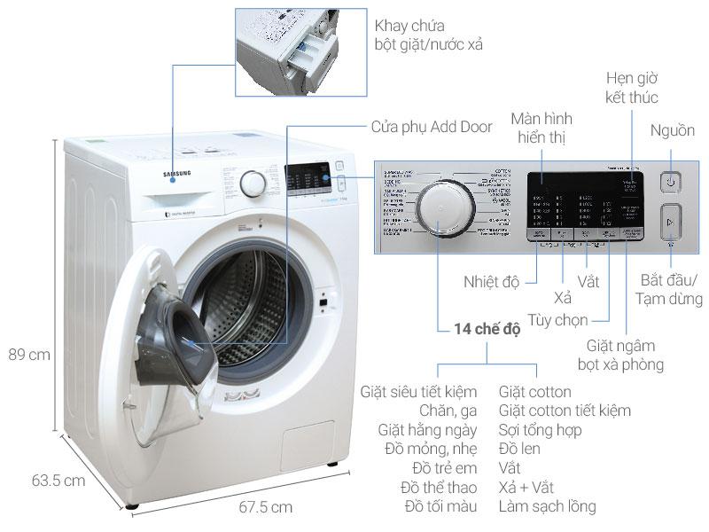 Máy giặt Samsung Addwash inverter 7,5kg WW75K5210YW/SV