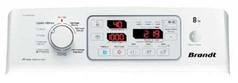 Máy giặt sấy Brandt WTD-9811 bảng điều khiển kết hợp cùng màn hình Led cỡ lớn cho phép điều chỉnh đúng chương trình bạn cần.